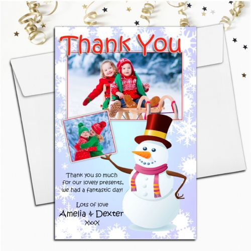 10 Personalised Christmas Xmas Thank you PHOTO Cards N36